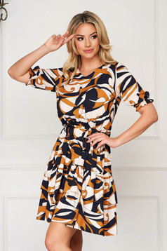 StarShinerS mustard dress short cut daily thin fabric short sleeves