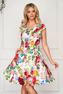StarShinerS ivory dress midi elegant cloche thin fabric short sleeves