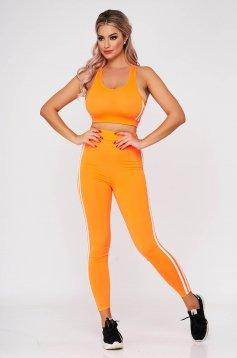 Trening dama SunShine portocaliu din doua piese cu pantalon din material elastic cu croi mulat