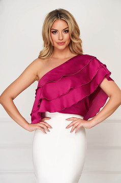 Fuchsia top shirt elegant short cut flared from satin fabric texture with ruffles on the chest