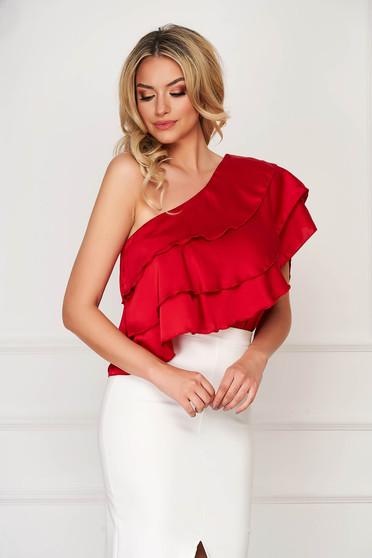 Top SunShine rosu elegant scurt din material satinat cu croi larg si volanase