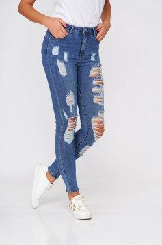 Blugi SunShine albastri casual skinny cu talie inalta din bumbac elastic