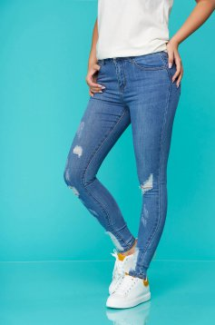 Blue jeans casual skinny jeans cotton high waisted