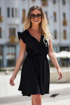 Rochie SunShine neagra eleganta scurta de zi din material subtire fara maneci