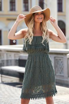 Khaki dress daily short cut straight off-shoulder cotton