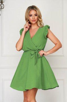 Lightgreen dress short cut daily elegant sleeveless thin fabric