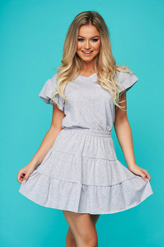 Grey sport 2 pieces casual 2 pieces with skirt with elastic waist with v-neckline cotton