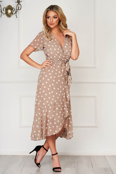 Cappuccino dress elegant daily asymmetrical cloche voile fabric accessorized with tied waistband