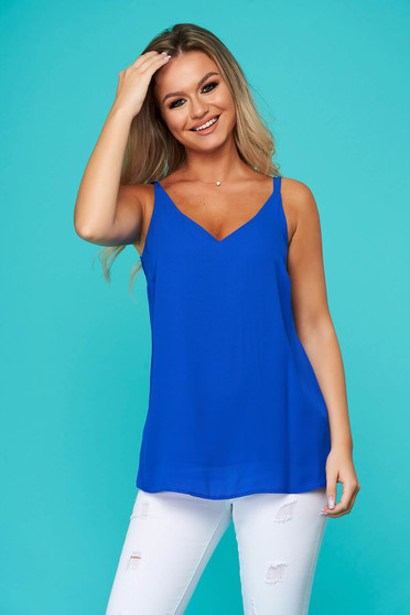 Blue top shirt casual from veil fabric with straps flared
