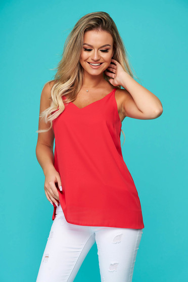 Red top shirt casual from veil fabric with straps flared