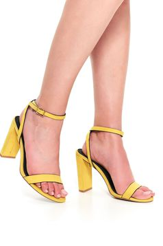 Yellow shoes casual chunky heel with thin straps from velvet fabric