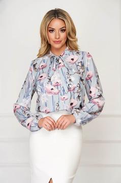Bluza dama StarShinerS albastra eleganta scurta din voal cu imprimeu floral