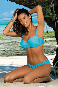 Aqua swimsuit from two pieces with balconette bra push-up effect with classic bottoms