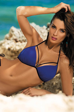 Blue swimsuit from two pieces triangle bra metallic details with classic bottoms