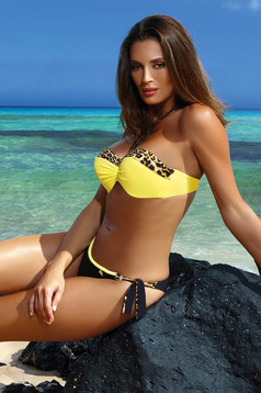 Yellow swimsuit from two pieces with balconette bra with push-up cups brazilian bikinis