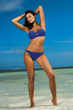 Blue swimsuit from two pieces with balconette bra with push-up bra with classic bottoms