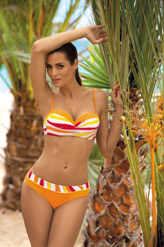 Orange swimsuit from two pieces with balconette bra with push-up bra with classic bottoms