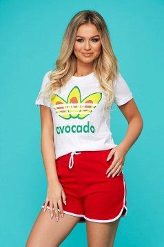 Red sport 2 pieces 2 pieces women`s shorts women`s t-shirt cotton