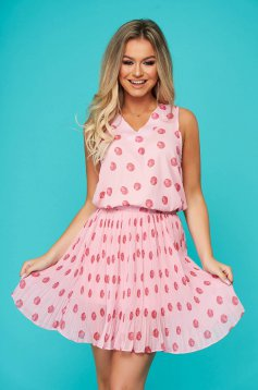 Pink lady set casual 2 pieces with skirt folded up from veil fabric dots print