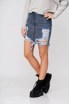 Blue skirt short cut denim ripped