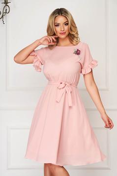 Dress StarShinerS lightpink elegant midi cloche with elastic waist with ruffled sleeves