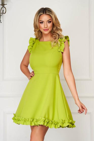Rochie StarShinerS verde eleganta scurta din stofa cu volanase la maneca