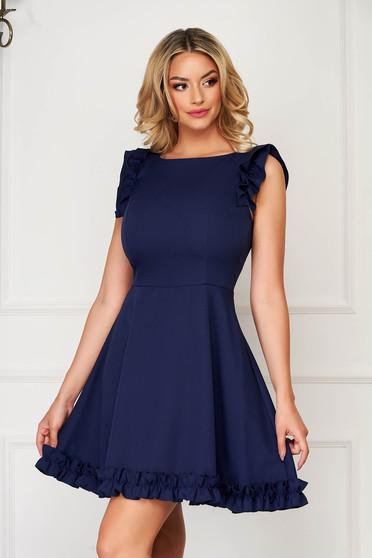 Rochie StarShinerS albastru-inchis eleganta scurta din stofa cu volanase la maneca