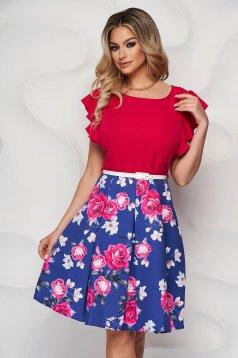 StarShinerS fuchsia dress elegant midi cloche with ruffled sleeves thin fabric