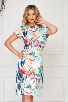 StarShinerS aqua dress midi daily straight thin fabric