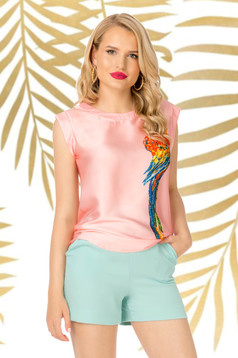Lightpink top shirt casual flared thin fabric with graphic details