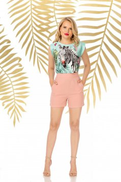 Lightpink short elegant high waisted with tented cut with pockets