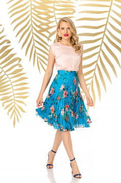 Skirt blue elegant midi flaring cut high waisted from veil fabric
