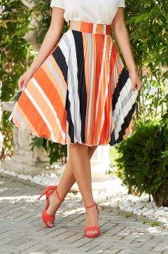 Skirt orange elegant folded up cloche high waisted from veil fabric