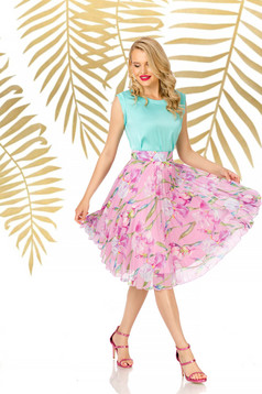 Skirt lightpink elegant midi flaring cut high waisted from veil fabric