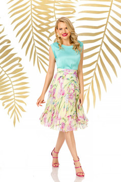 Skirt yellow elegant midi flaring cut high waisted from veil fabric