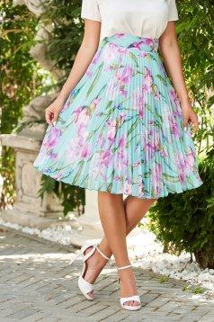 Skirt turquoise elegant midi flaring cut high waisted from veil fabric