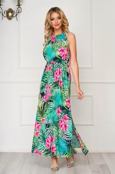 StarShinerS green dress long daily thin fabric sleeveless