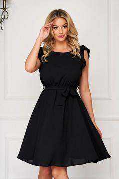 Black dress daily short cut sleeveless thin fabric