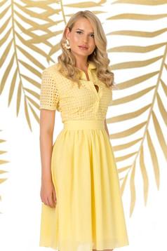 Dress yellow daily midi cloche with v-neckline nonelastic cotton