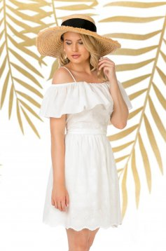 White dress short cut daily cloche cotton with ruffles on the chest