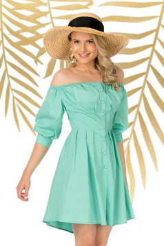 Turquoise dress daily asymmetrical cloche slightly elastic cotton naked shoulders