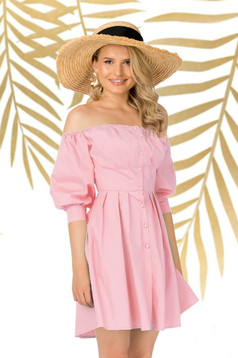 Lightpink dress daily asymmetrical cloche slightly elastic cotton naked shoulders