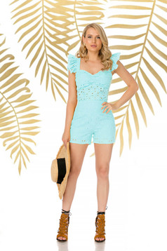 Turquoise short casual tented high waisted nonelastic cotton