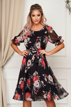 Black dress elegant midi cloche 3/4 sleeve voile fabric