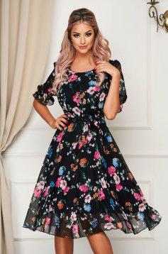 Rochie neagra eleganta midi in clos din voal cu imprimeuri florale