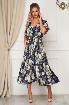 Darkblue dress daily midi cloche with elastic waist accessorized with tied waistband with ruffles at the buttom of the dress