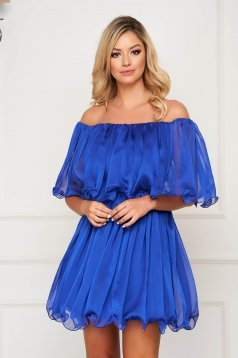 Blue dress short cut cloche off-shoulder occasional thin fabric