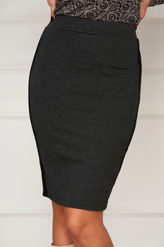 Darkgrey skirt casual pencil with elastic waist