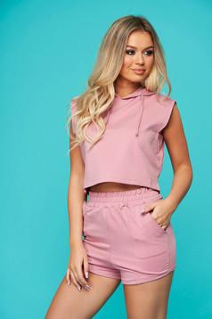 Set dama SunShine roz prafuit casual din 2 piese cu pantaloni din bumbac usor elastic cu elastic in talie
