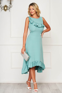 StarShinerS turquoise dress daily asymmetrical cotton sleeveless with ruffles on the chest